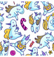 seamless background of unicorn and candies vector image vector image