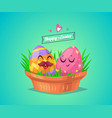 set of easter characters cute cartoons vector image vector image