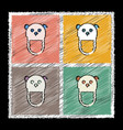 set of flat shading style icons teddy bear bib vector image vector image