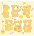 Set teddy bears in rznyh poses with toys and vector image vector image