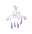 silhouette beauty dream catcher with feathers and vector image vector image