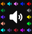 Speaker volume Sound icon sign Lots of colorful vector image vector image