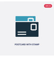 two color postcard with stamp icon from social vector image