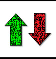 Up and Down Arrows Stock Green and Red vector image vector image