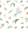 watercolor seamless pattern lily flowers vector image vector image
