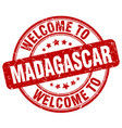 welcome to madagascar red round vintage stamp vector image vector image
