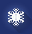 white flat six-pointed snowflake with shadow on vector image vector image