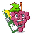 with beer red grapes fruit in cartoon basket vector image