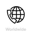 worldwide call icon editable line vector image