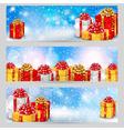 Set of horizontal festive winter banners vector image