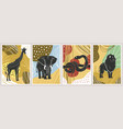 abstract posters with animals vector image