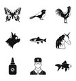animal care icons set simple style vector image vector image