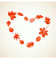 Autumn leaves heart vector image vector image