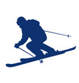 blue silhouette of a mountain-skier vector image vector image