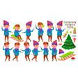 boy kid poses set winter holidays vector image vector image