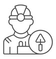 builder thin line icon engineer vector image vector image