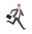 businessman running with case character vector image vector image