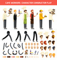 cafe worker character icon set vector image vector image