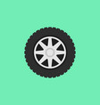 car flat wheel with tire icon on green vector image vector image
