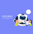 children playing with modern robot futuristic vector image vector image