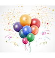 Colorful birthday with balloon and fireworks vector image