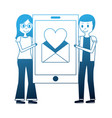 couple holding big smartphone email love hart vector image vector image