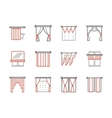 Curtains salon black and red line icons vector image