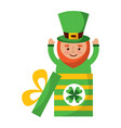 cute leprechaun in gift box surprise celebration vector image