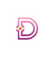 D letter initial spot line logo vector image