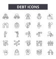 debt line icons signs set outline vector image vector image