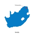 Detailed map of Venda and capital city Thohoyandou vector image vector image
