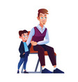 father and son waiting turn on chair in queue line vector image vector image