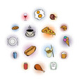 food comics icons set vector image vector image