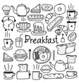 hand drawn doodle breakfast set vector image vector image