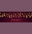 happy diwali festival banner with golden diya in vector image vector image