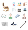 human old age cartoon icons in set collection for vector image vector image