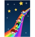 Kids Sliding Down a Rainbow vector image