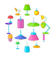 lamp icons set cartoon style vector image