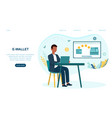 man making money transfer to e-wallet vector image