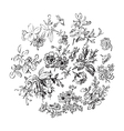 Meadow flower and leaf wreath isolated on white vector image vector image