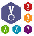 medal icons set hexagon vector image vector image