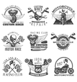 Motorcycle Black Emblem Set vector image vector image
