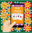 online poker app on tablet touch screen vector image