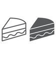 piece of cake line and glyph icon sweet and food vector image vector image