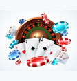 playing cards poker chips falling dice online vector image