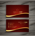 red luxury golden business card design vector image vector image