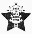 rock-n-roll music grunge print for t-shirt vector image vector image