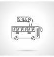 Sale bus flat line design icon vector image