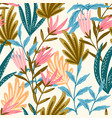 seamless floral pink and blue vector image vector image