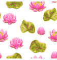 seamless pattern with lotus flowers water lily vector image vector image